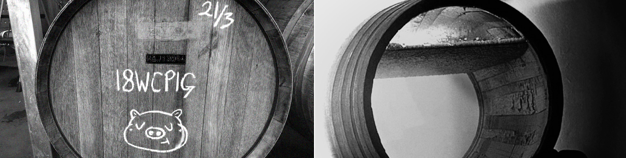 Split image in black and white. On left is wine barrel end, chalk drawing of pigs face bottom-centre, above it is written 18WCPIG and top left is written 21/3. On the right is half barrel without an end attached sitting on the floor