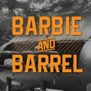 Event promotion advertisement/flyer. Outside setting with custom-made bbq made from an old large LPG cylinder. Organe text overlay (all caps) BArbie and Barrel
